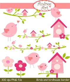 Birds and birdhouse Border clip art Download and by audreeart, $4.90