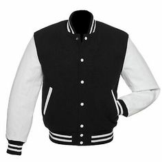With a black jacket on; you should never go wrong black jackets black-wool-white-leather-letterman-jacket ADWGLEW Varsity Jacket Outfit, Varsity Letterman Jackets, Baseball Jackets, Bomber Jacket, Leather Varsity Jackets, Faux Leather Jackets, Black And White Jacket, Black Wool, Sweatshirts