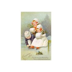 Vintage Christmas Winter Graphics ❤ liked on Polyvore featuring christmas