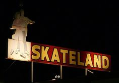 Skate land on Ming Avenue Bakersfield, California Bakersfield California, California Love, Kern County, Neon Nights, Central Valley, Business Signs, Neon Lighting, Vintage Signs, Signage