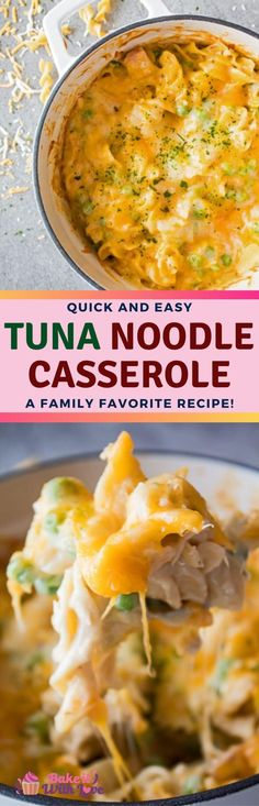 Tuna Noodle Casserole is an easy family favorite dinner of pasta, tuna, peas, a cream sauce, and topped with shredded cheese (or more)! Easy Baking Recipes, Kitchen Recipes, Fish Recipes, Vegetable Recipes, Easy Dinner Recipes, Seafood Recipes, Pasta Recipes, Meal Recipes, Chili Recipes