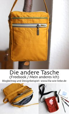 Die andere Tasche – Freebook (Mein anderes Ich) – Lila wie Liebe L'autre sac – Freebook (My Other Me) – Purple as Love Diy Bags Purses, Diy Purse, Sew Bags, Diy Sewing Projects, Sewing Tutorials, Sewing Patterns, Diy Backpack, Diy Mode, Clutch Bag