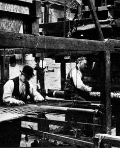Morris & Co. Workers Weaving at Merton Abbey. Morris learned how to produce textiles using traditional methods and natural dyes. Morris & Co. fabricated printed textiles, woven textiles, embroidery, carpets, and tapestries. Frustrated by the limited number of designs produced by his textile manufacturer, Morris established Merton Abbey to expand production of Morris & Co. textile offerings. Late 19th.c. #William_Morris #Morris_and_Co #Arts_and_Craft