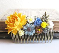 Yellow Hair Comb Cornflower Blue Gray Brown Ivory Cream Mustard Wedding Head Piece Bridal Floral Hair Comb Bridesmaid Big Rose Autumn Leaves