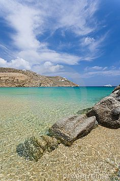The Super Paradise beach, in the south-side of the island of Mykonos, Greece