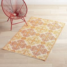 Plastic Orange Tile Medallion 4x6 Rug