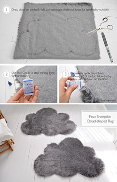 Cut your rugs into cloud shapes// corta tu alfombra y haz tu propia nube