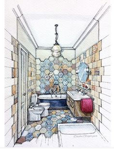 Dasha G. ~ Bathroom Interior Design Renderings, Drawing Interior, Interior Sketch, Interior Design Portfolios, Interior Rendering, Croquis Architecture, Plans Architecture, Interior Architecture, Perspective Sketch