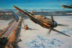Lavochkin La-5 shot down by Messerschmitt Bf-109G-14 'Black Tulip' of Erich Alfred 'Bubi' Hartmann, 'The Black Devil' of JG.53. By Nicolas Trudgian