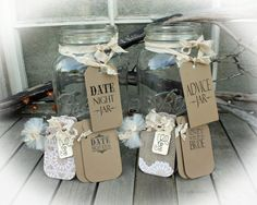 Set up 2 fun stations at your bridal shower! One to offer great Date night ideas for the bride and the other an Advice station all you need to ADD