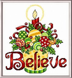 Believe Ornaments - Christmas cross stitch pattern designed by Ursula Michael.
