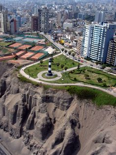 In the Miraflores District, Lima Metropolitan Area. The iron lighthouse in Miraflores was built in weighs 60 tons and was initially placed in Punta Coles, disassembled and rebuilt in Miraflores in Great Places, Places To See, Beautiful Places, Machu Picchu, Peru Travel, Inca, Light Of The World, South America Travel, Bolivia