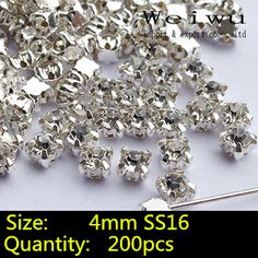 Aliexpress.com : Buy 200pcs Glass Stones Silver Base Rhinestones Clear Crystal SS16 Sew On Rhinestones In Claw from Reliable rhinestone wear suppliers on Weiwu Rhinestones Import and export company  | Alibaba Group