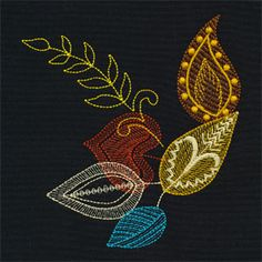Click here to view larger image Hand Embroidery Stitches, Modern Embroidery, Machine Embroidery Designs, Embroidery Patterns, Uncommon Threads, Embroidered Leaves, Cross Stitch Rose, Pin Cushions, Wool Felt