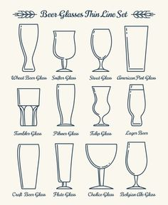 Beer glassware line icons. Beer glasses and goblets thin line signs. Beer Infographic, Beer Glassware, Coffee Cup Art, Lager Beer, Beer Brewing, Wheat Beer, Brew Pub, Beer Label, Line Icon