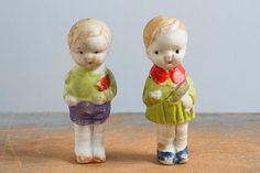 Pair of Small Vintage Frozen Charlotte / Frozen Charlie Bisque Dolls, Made in Japan