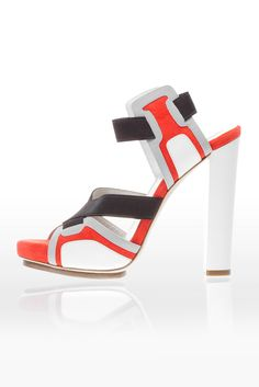 Pierre Hardy for Balenciaga | Orange, White & Black Sandal with Elastic Straps and Chunky Heel