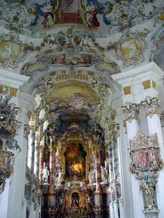 Ceiling of Weiskirche [White Church] in Bavaria (Steingaden), Germany. Visited 2003