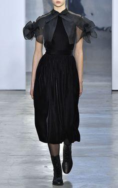 Organza And Velvet Midi Dress by CAROLINA HERRERA for Preorder on Moda Operandi