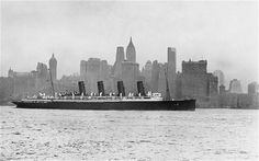 As time went on, passenger ships became more and more extravagant. This is Cunard's Mauretania, travelling against the New York skyline on April 8, 1913.
