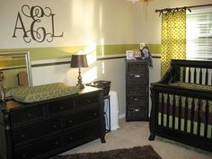 Really like the monogram but it may be too girly. Also like the dark brown wood furniture, especially the crib.