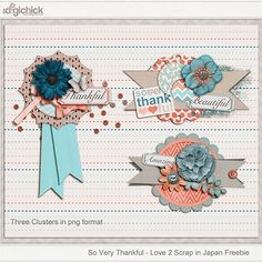 Quality DigiScrap Freebies: So Very Thankful clusters freebie from Love 2 Scrap In Japan