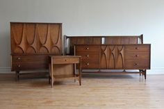 Iconic Mid Century Modern King Bedroom Set Dramatic curves, high arches, brass pulls. Solid walnut. Includes TWO nightstands and TWO mirrors which can attach to the low dresser. Fantastic vinta...