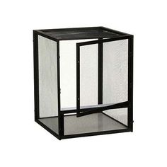 """X-Large, 24""""; L X 24""""; W X 48""""; H. Open air black aluminum screen cage is great for arboreal species of lizards like Old World Chameleons, Anoles and Crested Geckos."""