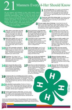 Compiled by a group of youth, this is a list of manners everyone should… 4 H Clover, 4h Fair, 4 H Club, Fair Projects, Recorded Books, Ffa, Public Speaking, Manners, Etiquette