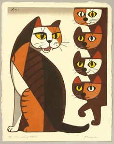 Cats in Art and Illustration: Inagaki Tomoo 1902 - 1980 Cat Calling Kittens Woodblock Vintage Japanese, Japanese Art, Frida Art, Cubism Art, Illustration Art, Illustrations, Cat Quilt, Cat Cards, Kittens