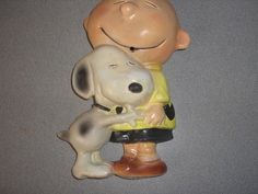 "PEANUTS CARTOON CHARACTER ""CHARLIE BROWN WITH SNOOPY"" CHALKWARE STRING HOLDER"
