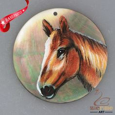 HAND PAINTED HORSE NATURAL MOTHER OF PEARL SHELL PENDANT ZH30 00334 #ZL #PENDANT