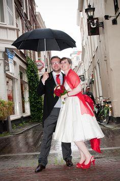 50s wedding dress & red