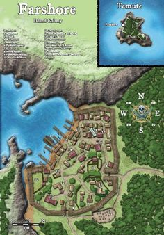 Map of the village of Farshore Fantasy City Map, Fantasy World Map, Fantasy Town, Medieval Fantasy, Age Of Empires, Dungeons And Dragons, Plan Ville, Pathfinder Maps, Village Map