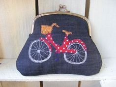 Coin Purse Bicycle applique on Denim by RubyPatch on Etsy