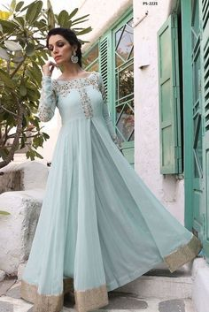 Traditional Fashion Wedding Suit Powder Blue Anarkali Dress Plus Size PS-2221 #EthnicDresses #Anarkali