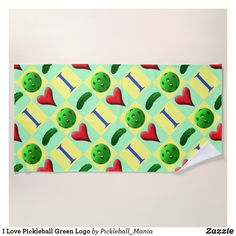 I Love Pickleball Green Logo Beach Towel
