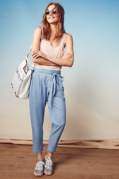 Chambray Paperbag Trousers #anthropologie