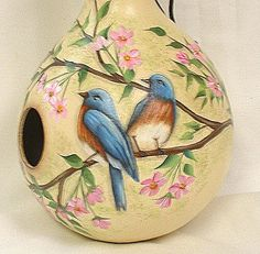 Blue Bird and Cherry Blossoms Gourd Birdhouse by FromGramsHouse,