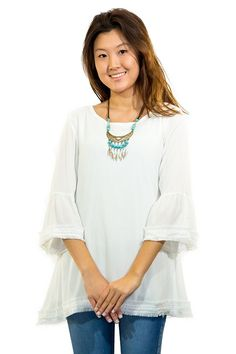 671c60def04 Sweet & Sultry COLLEGE GIRL WHITE 3/4 sleeve tunic with fringe trim  detail