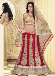 Lustrous Red Net Designer Lehenga Choli | Wedding Lehenga Choli | Bridal Lehenga Choli | Item Code: 2755