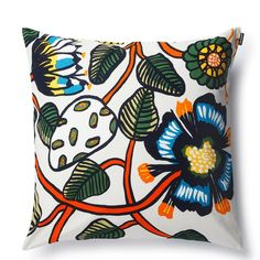 Tiara cushion from marimekko, Tiara Cushion i from marimekko is a striking design by Erija Hirvis who has a love of nature. A botanical creation of intertwining flowers, leaves & mushrooms with a burst of vibrant colours of orange, blues & yellows are grounded by the rich dark greens & darker detailing. Contemporary tropical style.