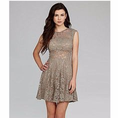 B Darlin Illusion Sequin Sheer Lace Dress