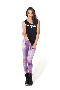Fairy Paint Lavender Leggings - LIMITED by Black Milk Clothing