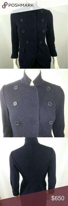 """Brunello Cucinelli Cashmere Navy Tuxedol Jacket Very  chic and elegant - very high end - showing some signs of normal wear but nonetheless in nice pre-owned condition! Features incl: 100% cashmere knit; Hidden snap front; 2 button cuff; 2 flap front pockets; vented back Measurement M but runs small so please note measurements carefully.   Length 36"""" (longest point back) 20"""" (shortest point front) Sleeve 20"""" Pit to pit 16"""" Shoulder to shoulder 15"""" Brunello Cucinelli Jackets & Coats Blazers"""
