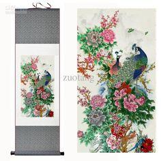 disegni i dipinti su seta asiatica, cinese fiori a stelo di scorrimento arte gratuitoall'ingrosso