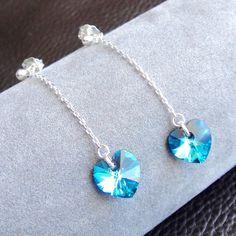 ARGENT 925 - Boucles d'oreilles pendantes chaînes et coeur en cristal bleu : Boucles d'oreille par lizou-sen-fout
