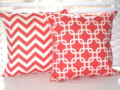 "Decorative Pillows, Pillow, Coral, Coral Chevron Pillow, Coral Geometric, set of 2 - 18"" x 18"". $32.00, via Etsy."
