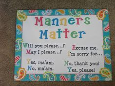 Classroom manners expectations @Victoria James Wise