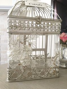 Birdcage Card Holder Elegant Money Box Wedding by LuckyYouLuckyMe